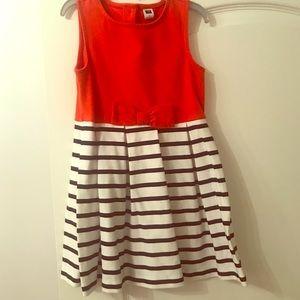 Janie & Jack Orange & Navy/White Stripe Dress